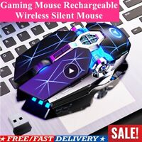 Gaming Mouse Rechargeable Wireless Silent Mouse LED Backlit 2.4G USB 1600Dpi US