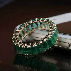 Genuine Baguette Emerald Gemstone Solid 18K Yellow Gold Fine Eternity Band Ring