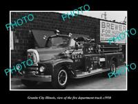 OLD LARGE HISTORIC PHOTO OF GRANITE CITY ILLINOIS, FIRE DEPARTMENT TRUCK c1950
