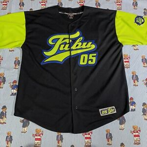 Vintage 2000s FUBU Sports The Collection Black Lime Green Baseball Jersey XXL