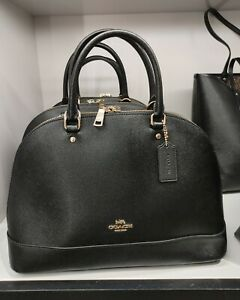 NWT Coach F27590 Crossgrain Leather Sierra Satchel Handbag Black