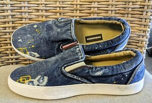 DSQUARED2 POLLOCK SNEAKERS | COTTON JEAN DENIM | SZ. 40 EUR 7 US | MADE IN ITALY