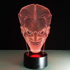3D Acrílico Luz de noche Lámpara nocturna Multicolor del Guasón de Batman Joker