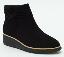 Clarks Collection Suede Ankle Boots with Bow - Sharon Salon Choose SZ/Color New