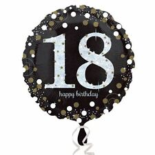 Black & Gold Celebration 18th Birthday Foil Balloon  Birthday Party Decorations