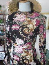 vtg romantic Black Rose Print Floral Scroll Fitted Waist Flowy Rayon dress S 8