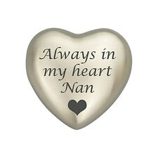 Always In My Heart Nan Silver Coloured Heart Urn Keepsake for Ashes Cremation