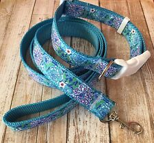 Designer Dog Collar And Leash Set In May Flowers Print