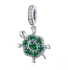 Turtle Green CZ Tortoise Animal Charm 100% 925 Sterling Silver Pandora