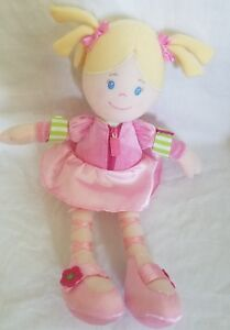 Carters Blonde Plush Dress Up Activity Doll Pigtails Zipper Snap Crinkle 10""