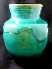 """Vintage 1920s Chris Lanooy Art Pottery Green Teal Hand Made Signed Vase 7.25"""""""