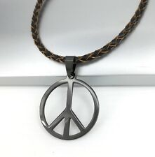 Black Retro Hippie Peace Sign Symbol Pendant 3mm Brown Braided Leather Necklace