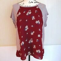 Maeve Anthropologie Red Striped Floral Short Sleeve Blouse Womens Size Large