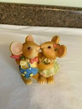 Kissing Mice Figurine Male Holding a Rose Plastic Whiskers Curly Tails Cute!