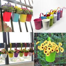 12 Colors Home Garden Metal Flower Pot Hanging Balcony Plant Planter Home Decor