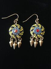 Earrings Dangle Vintage Ethnic Gold Glamour Rhinestones Bohemian A1008