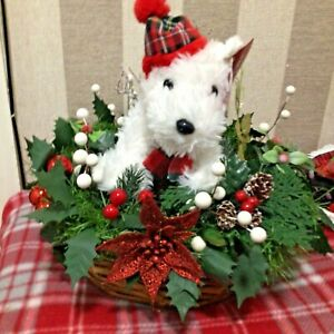 christmas flower arrangement basket with west Ireland white dog