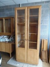 DELIVERY INCLUDED: ERCOL WINDSOR TALL WIDE GLASS DISPLAY CABINET (LIGHT)