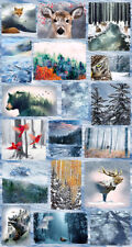 "CALL of the WILD ""Frost"" Panel 27x43 100% cotton Fabric by Hoffman Bear Fox Deer"