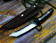 Japanese Handmade Knife Hand Forged Steel Hammered Blade Wood Handle Hunt Tanto