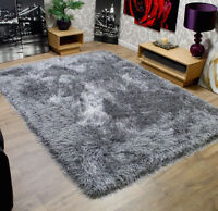Modern Shaggy Very Thick 9cm Soft Touch Silver Grey Rug Variations Sizes Carpet