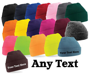 Custom Personalised Embroidered Any Text or Logo Cuffed Knitted Beanie Free P&P