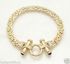 "7.5"" Diamond Byzantine Bracelet Black Onyx Toggle Clasp REAL 14K Yellow Gold"