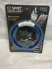 EZ Spot LED Pet Collar By One Products Blue Customize The Size Rechargeable W5