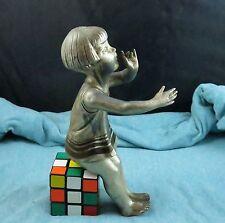 Ornate French Art Deco Girl Child Cast Sculpture Lamp Clock Part Signed P. Sega