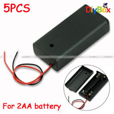 5PCS 2A Battery Clip Holder Box Case w/ ON/OFF Switch and Cover for 2AA battery