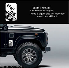 LAND ROVER DEFENDER End Production 90 110 Series WHITE DECAL Sticker 1948-2016