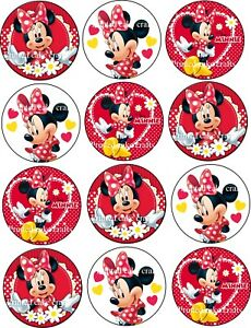 12 x 5cm Edible Minnie Mouse *PRECUT* Icing Cupcake Toppers
