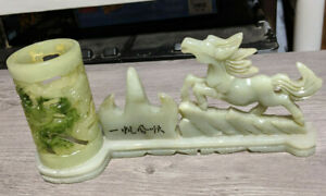 "9"" Long Carved Jade Home Decor Candle Holder Asian Horse Figurine Sculpture"