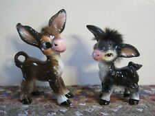 PAIR Vintage UCAGCO Ceramic Baby? DONKEYS Brown Black FUR Japan