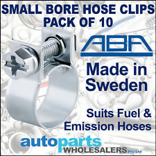 ABA FUEL & EMISSION HOSE CLIPS CLAMPS 14mm to 16mm - PACK OF 10 - MADE IN SWEDEN