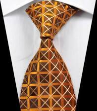 New Classic Patterns Gold Brown JACQUARD WOVEN 100% Silk Men's Tie Necktie