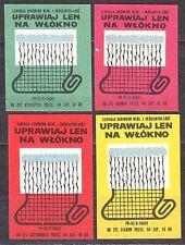 POLAND 1968 Matchbox Label - Cat.Z#903 set, Grow flax, on fiber.