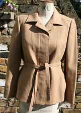 COJANA LONDON CAMEL 100% WOOL TAILORED BELTED JACKET SIZE 12-14 MADE IN THE UK