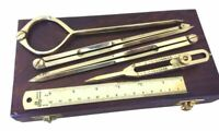Nautical Solid Brass Navigation Items : Compass Divider Ruler With Wooden Box