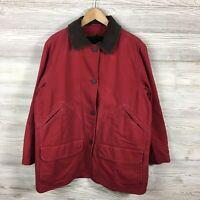 Womens Woolrich Fleece Lined Field Jacket Large L Red Button Front Winter Coat