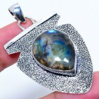 "Labradorite Gemstone Handmade 925 Silver Jewelry Pendant 2.36""  ARAK-328"