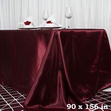 "1 pc Burgundy 90x156"" RECTANGLE Satin TABLECLOTH Wedding Party Banquet Linens"