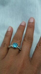 Gorgeous JA John Atencio sterling 925 18k blue topaz ring size 6