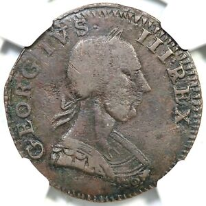 1784 W-8130 V 14-84A R-6 NGC VF 35 GEORGIVS British Evasion Copper Colonial 1/2p