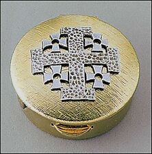 Jerusalem Cross 8-Host Pyx Pewter and Brass (61949) Home Hospital Pyx NEW