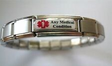 Medical Alert Bracelet Personalised RED Any Condition Illness Ailment  Allergy