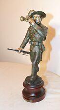 antique hand painted metal Italian Bersaglieri Army Soldier Statue sculpture .