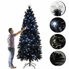 6ft Fibre Optic Slim Pencil Christmas Tree With White/Blue LED  Ideal For Xmas