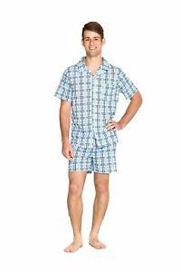 Mens Short Summer Cotton Blend Pyjamas (S-XXL) Pjs Set Blue Checkered