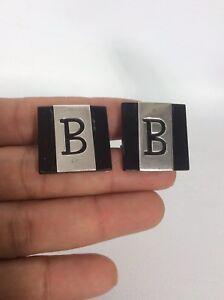 Vtg Rancho Alegre Taxco Mexico sterling Silver 925 Onyx letter B cufflinks
